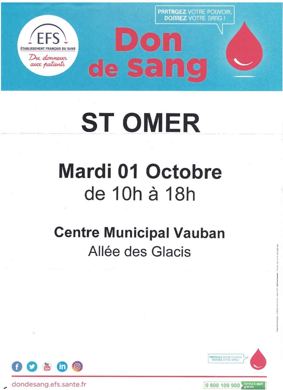 Don de sang 1er octobre
