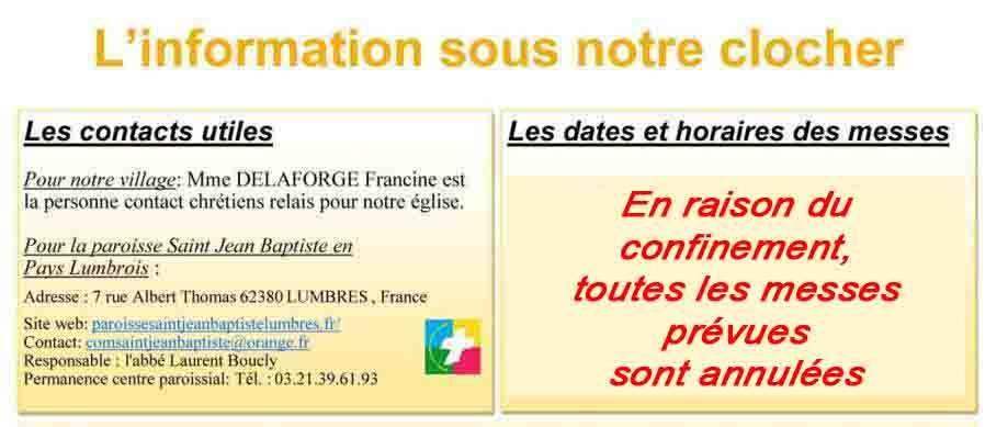 Les dates et horaires des messes 1