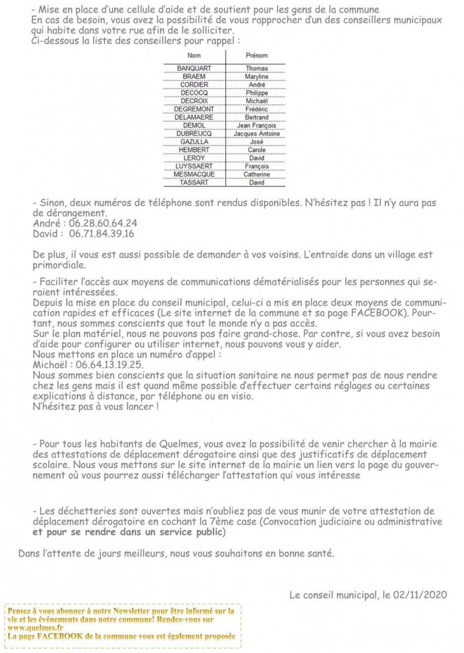 Lettre d information reconfinement 2